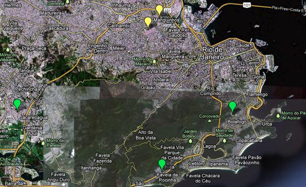 Die virtuelle Favela-Map von BuzzingCities stellt die Besetzung der Favelas in Rio de Janeiro dar